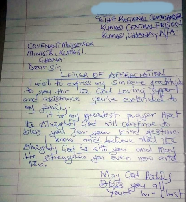 A Letter Received From An Inmate Kumasi Prison Covenant